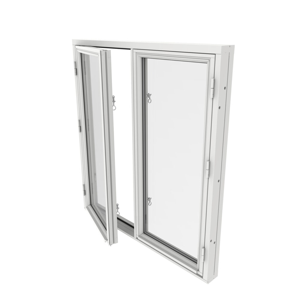Sidohängt Fönster 2 Luft 2 Glas – Trä – Outline