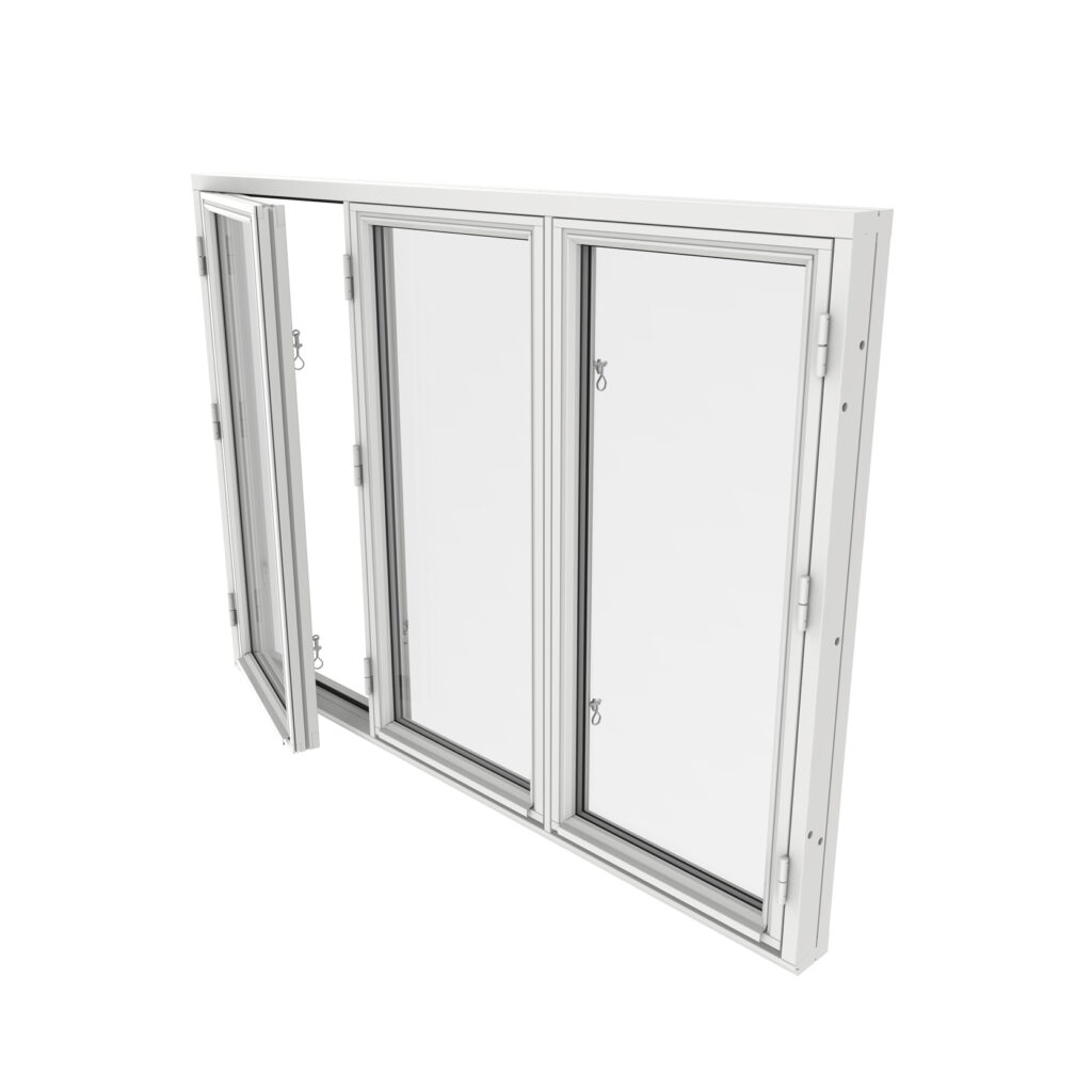 Sidohängt Fönster 3 Luft 2 Glas – Trä – Outline
