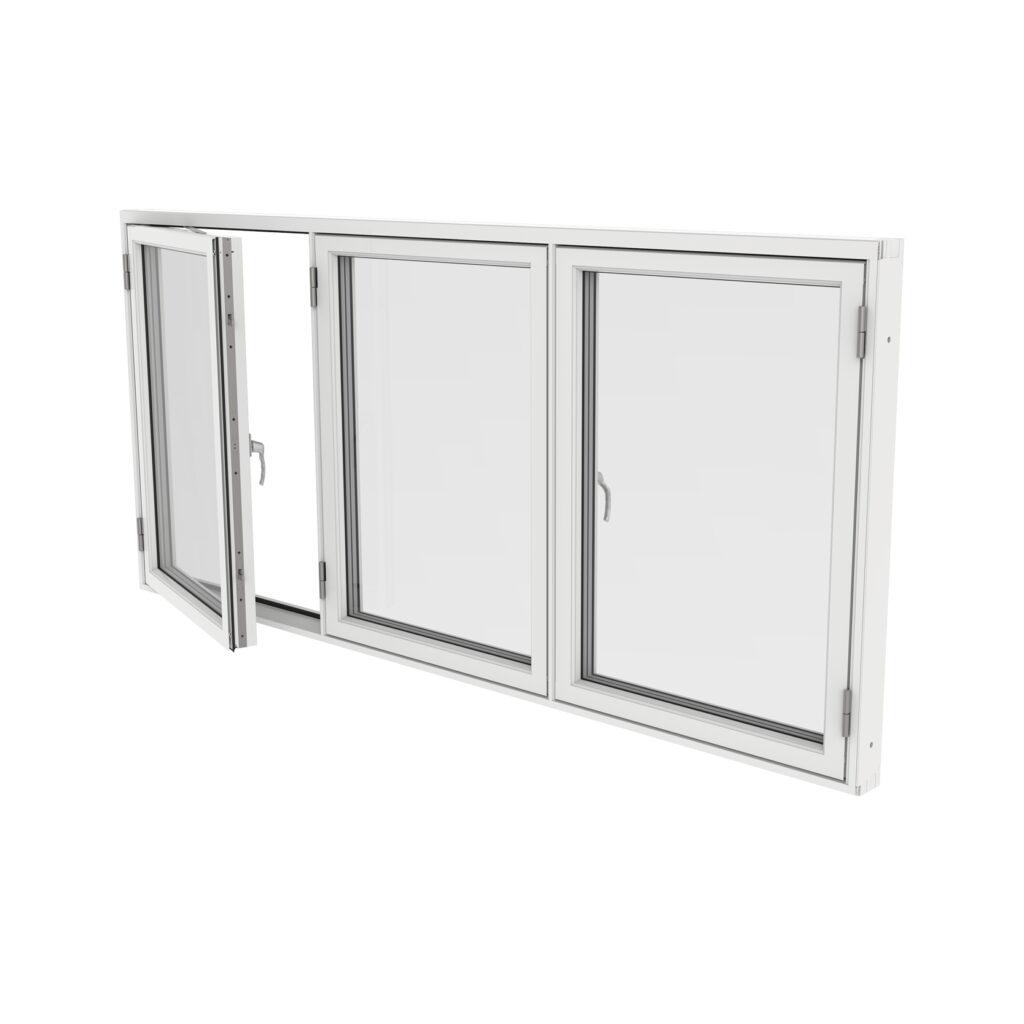 Sidohängt Fönster 3 Luft – Trä/Alu – Outline