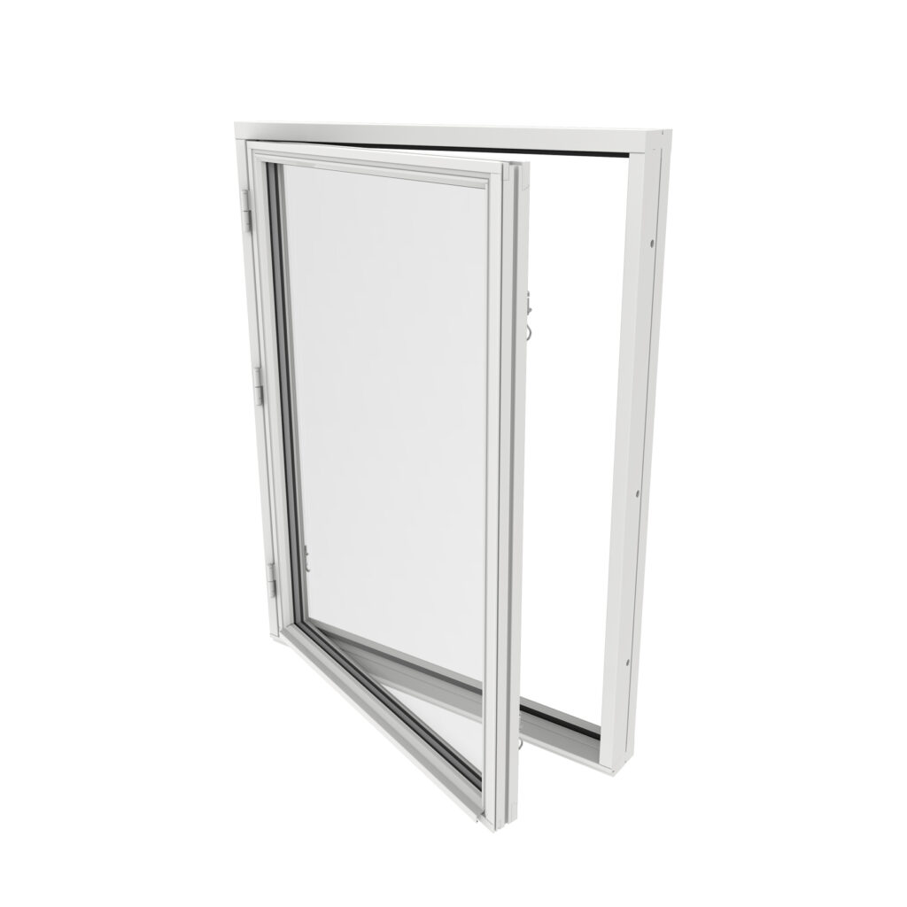 Sidohängt Fönster 1 Luft 2 Glas – Trä – Outline